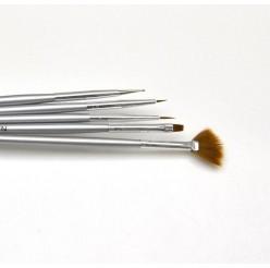 03 - Набор кистей для рисования Lker - 5 шт/уп - серебряная ручка