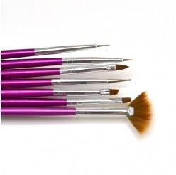01 - Набор кистей для рисования Lker - 7 шт/уп - фиолетовая ручка